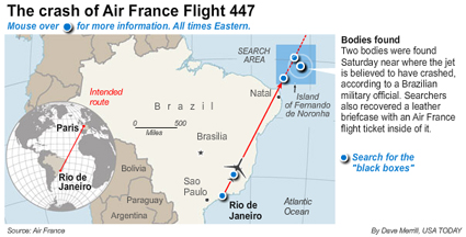 Location of 2 Flight 447 Victims Found Today in Atlantic Ocean