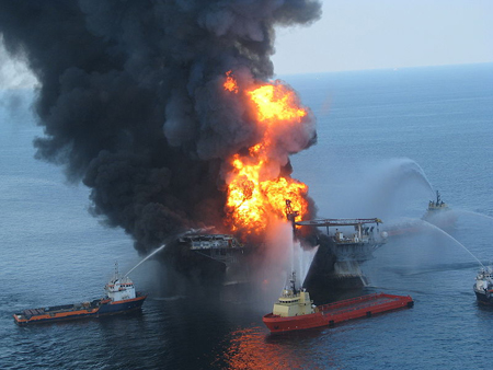 Deepwater Horizon offshore drilling unit on fire 2010
