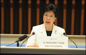 Dr. Margaret Chan, Director-General of the World Health Organization (WHO), announces 2009 Swine Flu Influenza Pandemic