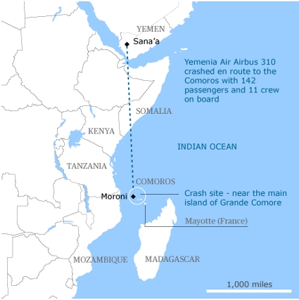 Yemenia Airbus A310 Plane Crash Route Map Picture
