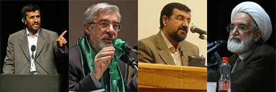 Mahmoud Ahmadinejad, Mir-Hossein Mousavi, Mohsen Rezaee, Mehdi Karroubi