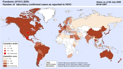 Global Map of H1N1 Flu Virus Cases (July 2009)