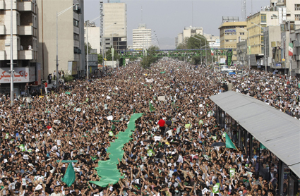 Iranian supporters of Mir Hossein Mousavi protest in Tehran, Iran